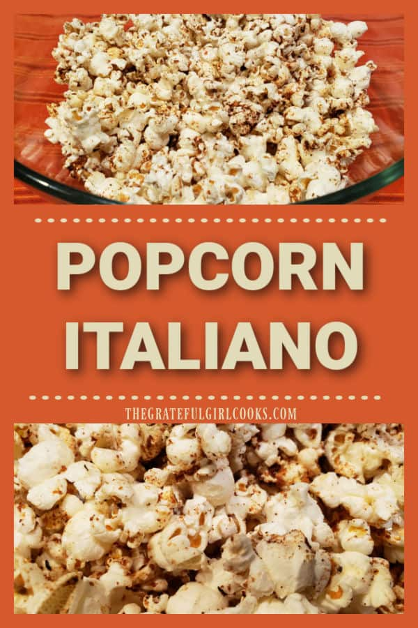 Popcorn Italiano is an easy Italian-inspired snack. Popped corn is seasoned with butter, Parmesan cheese and Italian seasonings, then baked.