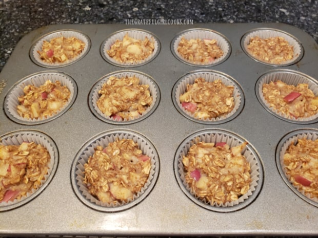 After baking, the apple cinnamon baked oatmeal bites cool to room temperature.