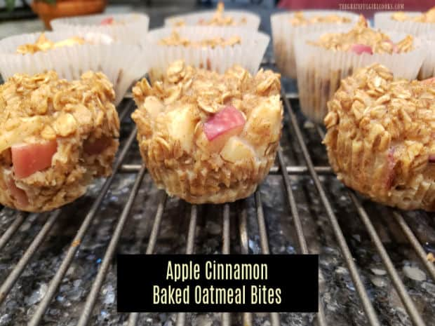It's easy to make a dozen moist Apple Cinnamon Baked Oatmeal Bites (no added sugar) in under 30 minutes for a yummy breakfast or snack!