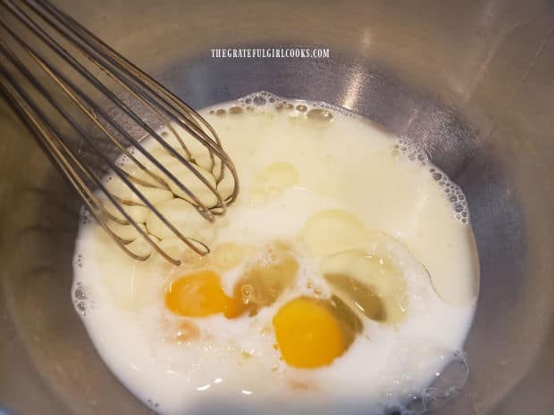 Eggs, milk and vegetable oil are whisked together before adding to batter.