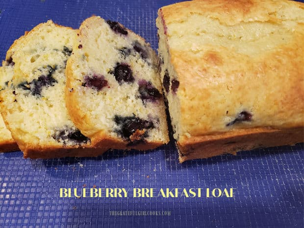 A Blueberry Breakfast Loaf is easy to make, moist, delicious, filled with juicy sweet blueberries, and is ready to bake in 10 minutes.