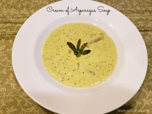 Make four servings of delicious Cream of Asparagus Soup in under 30 minutes! It's so easy to make - serve as a main dish OR as a side dish.