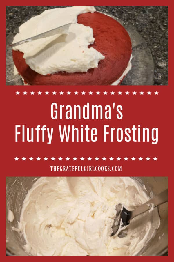 Make my Grandma's fluffy white frosting to decorate your favorite cakes or cupcakes! It's a simple recipe I've used for over 45 years.