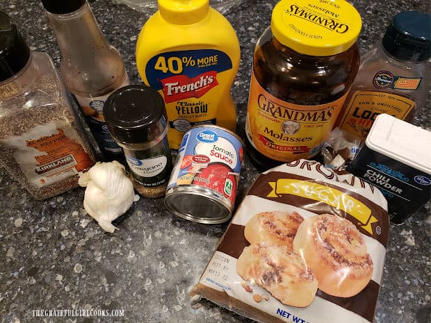 The ingredients used to make homemade honey bbq sauce.