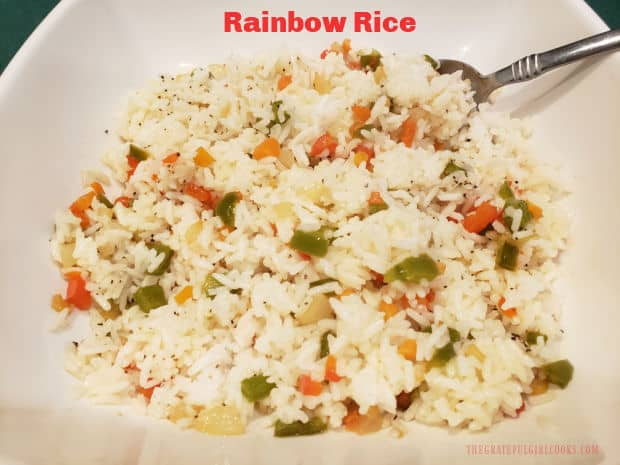 """Rainbow rice is a delicious way to """"jazz up"""" plain white rice with the colors and flavors of carrots, bell peppers, onions and spices."""