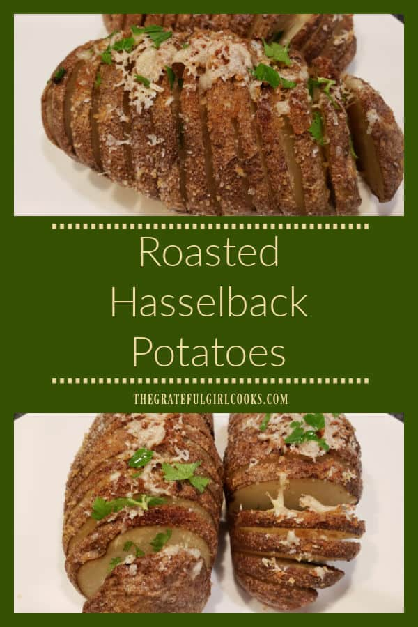 "Roasted Hasselback Potatoes are a delicious side dish. Best known for their unique ""fan-shaped"" slices, they're buttery, and easy to make."