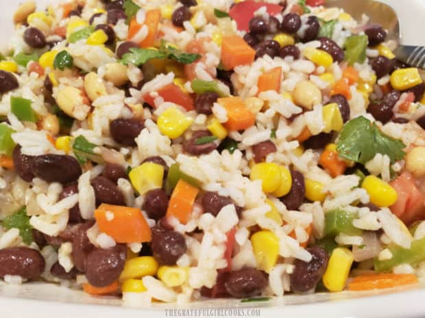 A close up look at the Southwestern Rice Salad, full of veggies.