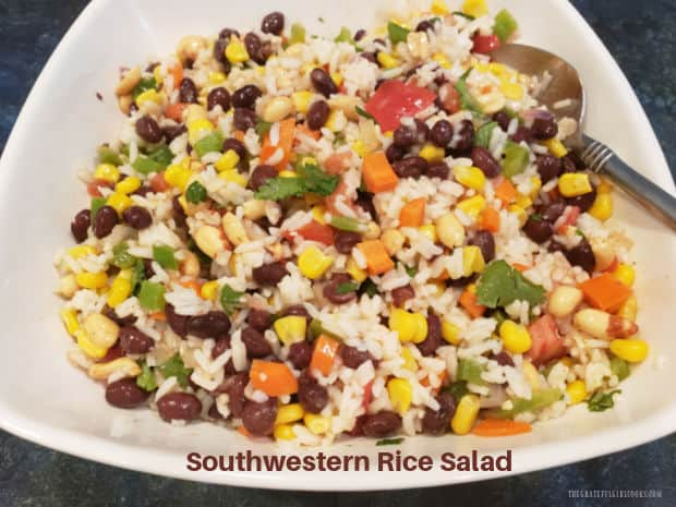 Southwestern Rice Salad is a yummy side or meatless main dish. Rice, black beans, corn, and peppers are mixed in a lightly seasoned dressing.