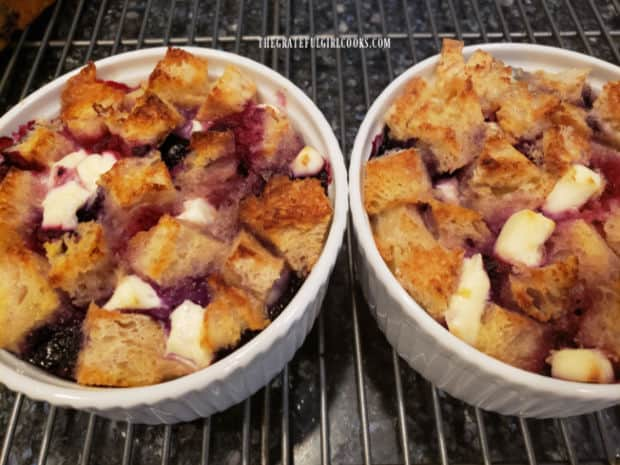 """Triple berry French toast cups are baked until golden brown and the egg filling has """"set""""."""