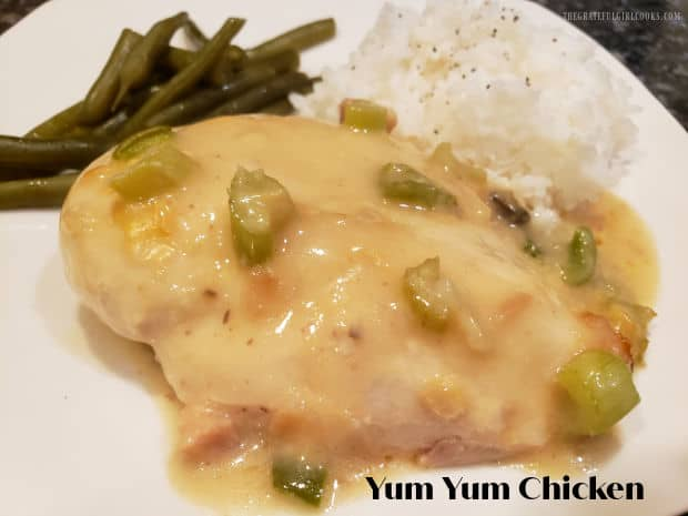 Yum Yum Chicken is an EASY (10 minute prep.) delicious dish. Chicken pieces are covered in a simple, flavorful sauce, and baked until done.