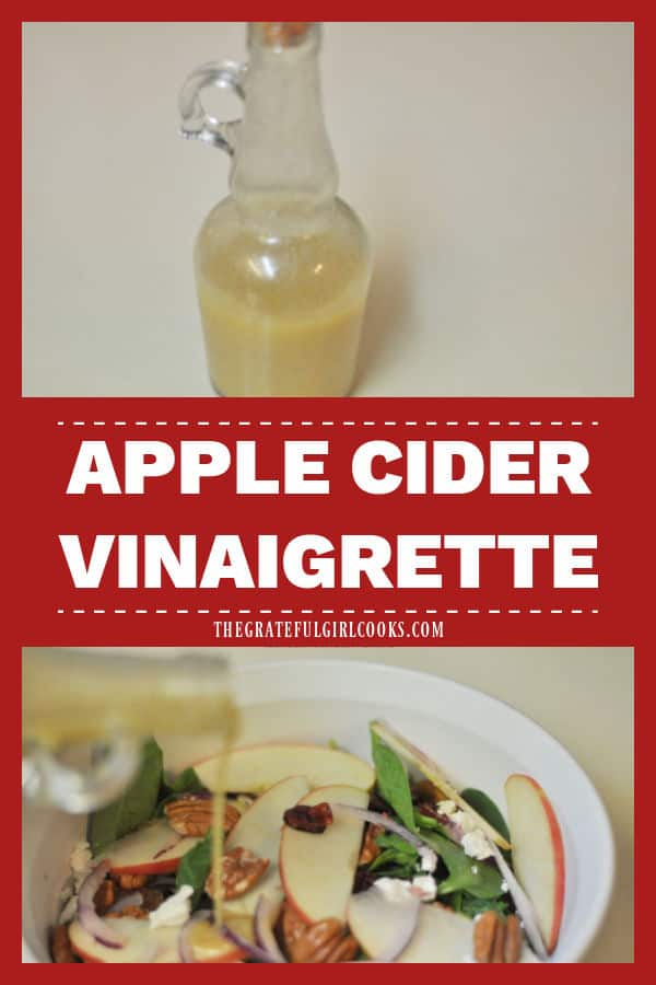 Make a simple apple cider vinaigrette in 5 minutes! Use this delicious salad dressing to top your favorite spinach or mixed green salads.