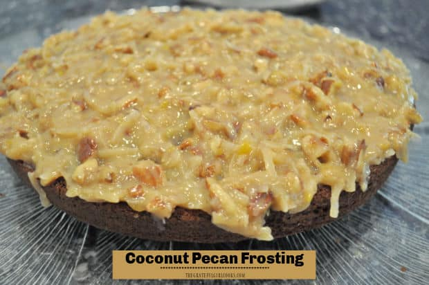 Make yummy coconut pecan frosting from scratch in 15 minutes! This frosting tastes fantastic on German chocolate cake, cupcakes, or brownies.