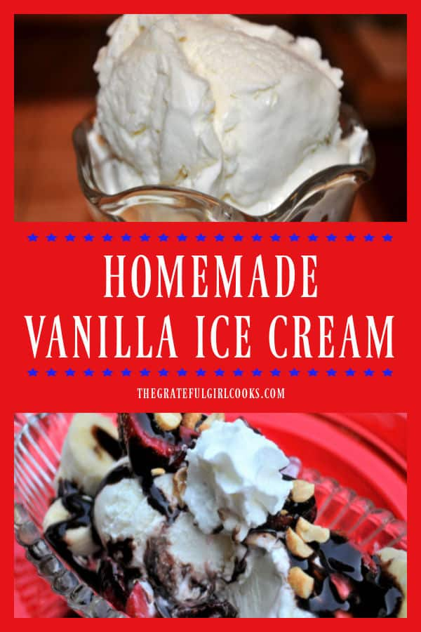 Nothing says summer like homemade vanilla ice cream! Grab your ice cream maker and whip up a delicious batch of this simple, frozen treat!