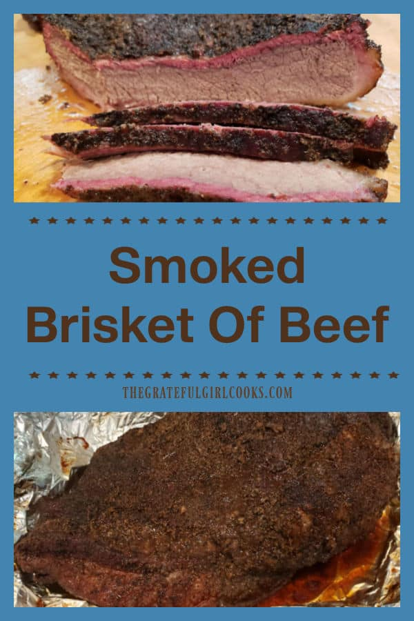 Enjoy smoked brisket of beef, cooked on a smoker grill. Cut the brisket in slices to serve, or shred and add BBQ sauce for a great sandwich!