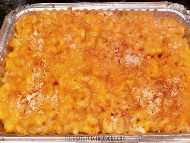 Smoked macaroni and cheese, straight from the Traeger grill, hot and ready to serve.