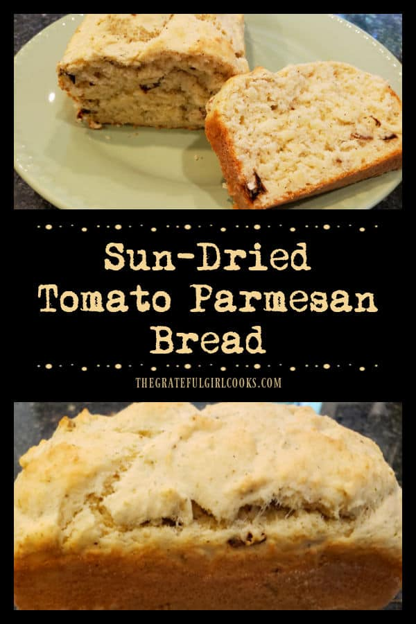Make a loaf of Italian-inspired Sun-Dried Tomato Parmesan Bread. Easy to make, 10 minutes prep and into the oven it goes for 30 minutes!