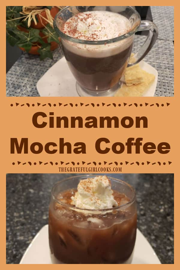 Enjoy some Cinnamon Mocha Coffee, with chocolate, cinnamon, brown sugar and nutmeg! This easy drink can be served hot, or as an iced coffee.