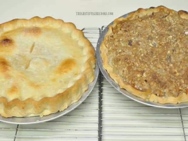 Classic peach pie on the left, and Dutch Crumb Peach Pie on the right.