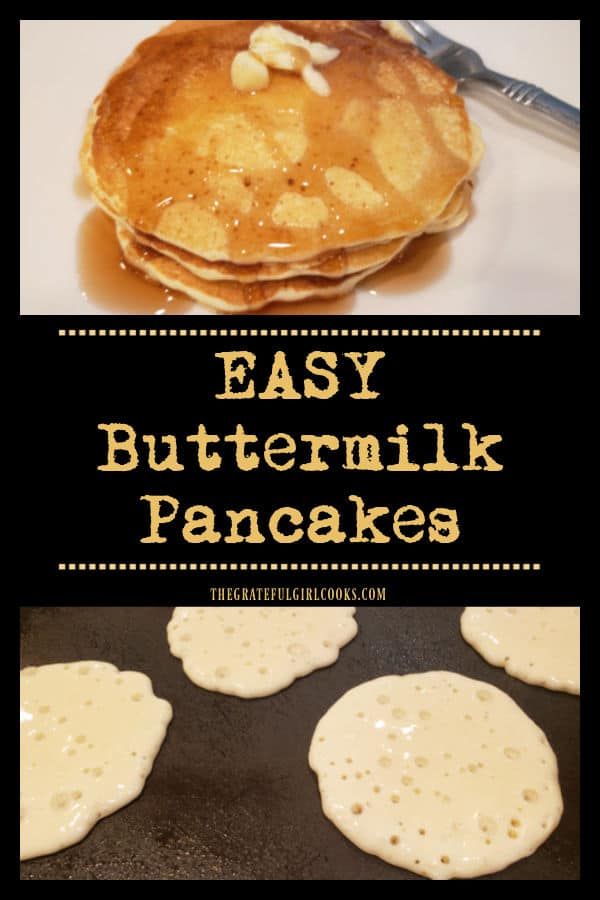 Make a batch of delicious, EASY Buttermilk Pancakes from scratch in under 10 minutes! Mix the batter, and onto a griddle or skillet they go!