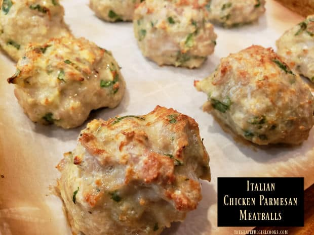 It's so easy to make Italian Chicken Parmesan Meatballs! Mix and bake delicious, healthy meatballs to serve as is, or with a favorite sauce.