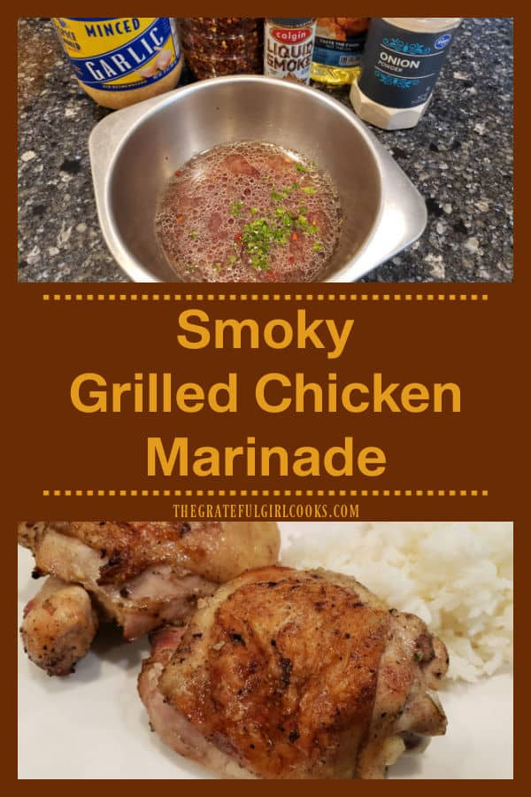 Make this simple, no fuss, Smoky Grilled Chicken Marinade to add extra flavor to chicken before cooking on the BBQ. It's good on steak, too.