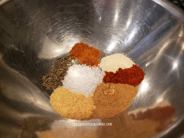 Seasoning mix for the potatoes are combined in a small bowl.