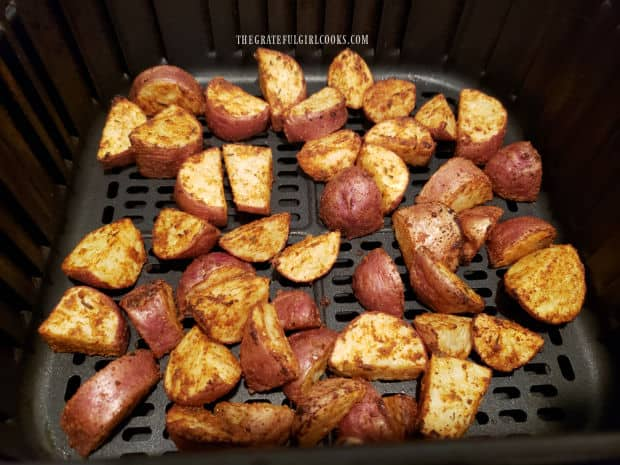 Halfway through cooking, the potatoes are turned, then finish cooking.