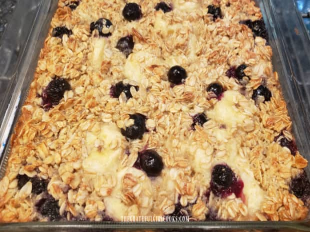 Blueberry Banana Baked Oatmeal is golden brown on top, once taken out of the oven.
