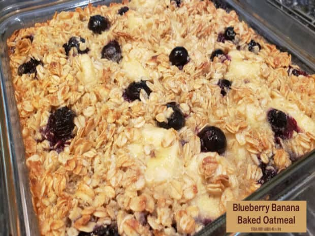 Blueberry Banana Baked Oatmeal is a cinch to make, and is full of juicy blueberries and banana slices! It's an easy, yummy breakfast!