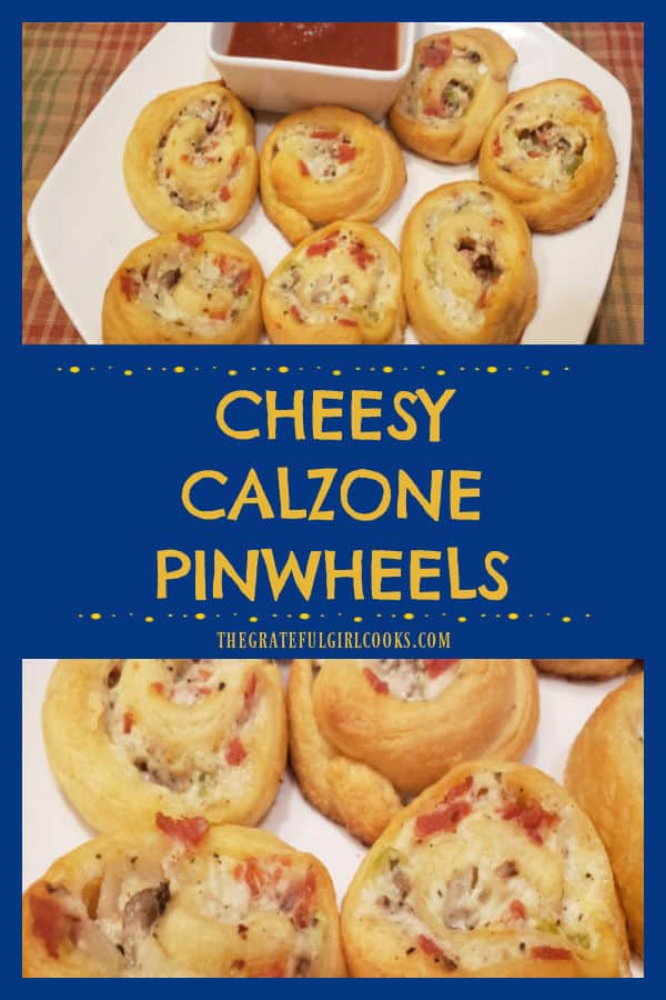 Cheesy Calzone Pinwheels are yummy crescent roll appetizers, with pepperoni, bell pepper, mushrooms, and 3 cheeses, served with marinara sauce.