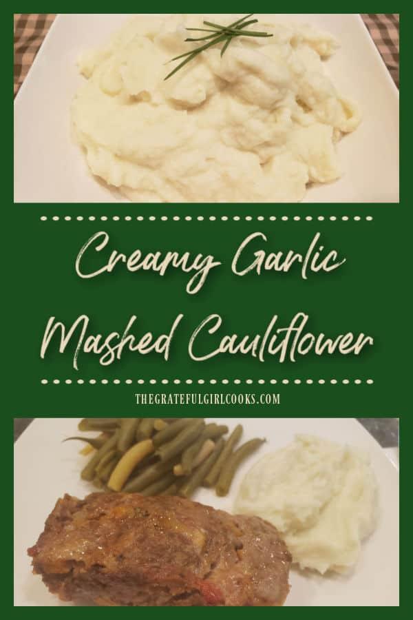 If you like mashed potatoes, you'll enjoy Creamy Garlic Mashed CAULIFLOWER! Seasoned with garlic & onions, this healthy side dish is amazing!